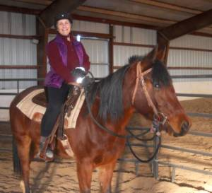 Cindy Roper on her mare Nova, six weeks after clavicle and rib fracture