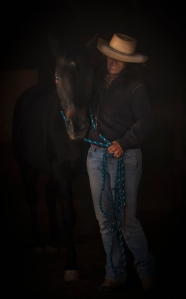 Zuzka's favorite picture of herself in the dark barn with me.